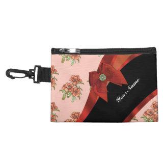 Pretty brick red vintage floral flower pattern accessories bags