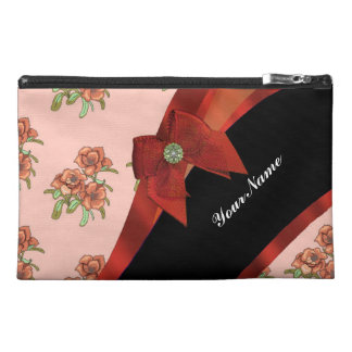 Pretty brick red vintage floral flower pattern travel accessory bag