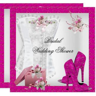 Pretty Bridal Shower White Pink Corset High Heels Card