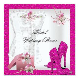 Pretty Bridal Shower White Pink Corset High Heels Invitations