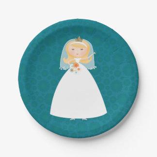 pretty bride bridal shower paper plates