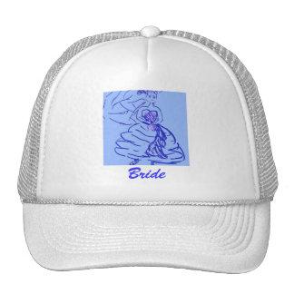 Pretty Bride in Blue Hats