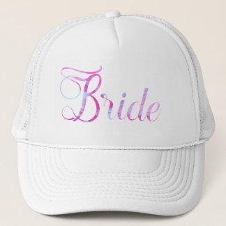 Pretty Bride Pink Streaked Paint Look Trucker Hat