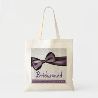 Pretty Bridesmaid Bag Purple Faux Satin Bow