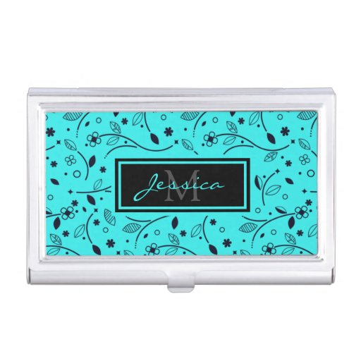 Pretty Bright Blue Floral Personalised Business Card Case