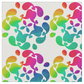 Pretty Bright Colorful Rainbow Flowery Patterned Fabric