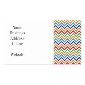 Pretty Bright Colorful Zig Zag Chevron Stripes Business Cards