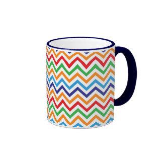 Pretty Bright Colorful Zig Zag Chevron Stripes Ringer Coffee Mug