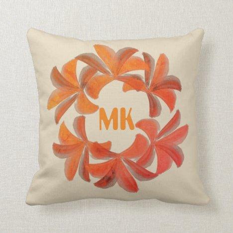 Pretty Bright Lilies Wreath Monogrammed Pillow
