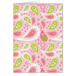 Pretty Bright Pink and Lime Green Paisley Pattern Cards