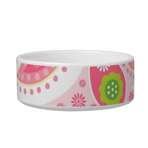 Pretty Bright Pink and Lime Green Paisley Pattern Cat Food Bowls