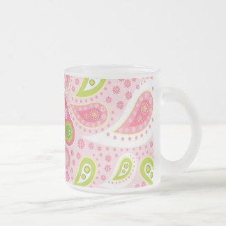 Pretty Bright Pink and Lime Green Paisley Pattern Frosted Glass Coffee Mug