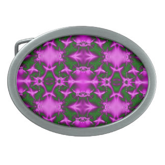 Pretty Bright Pink Green Abstract Oval Belt Buckles