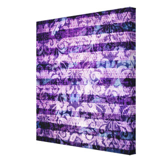Pretty Bright Purple Floral Striped Pattern Canvas Print