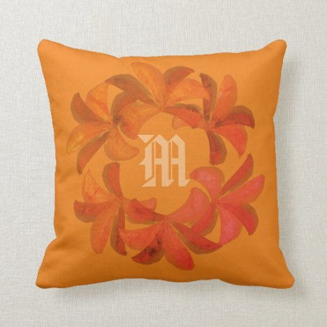 Pretty Bright Watercolor Lilies Monogrammed Pillow