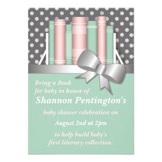 Pretty Bring a Book Baby Shower Invitations