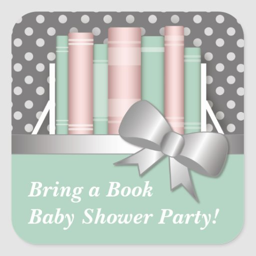 Pretty Bring a Book Baby Shower Stickers
