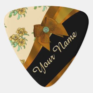 Pretty brown and beige  vintage floral pattern guitar pick