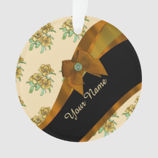 Pretty brown and beige  vintage floral pattern ornament