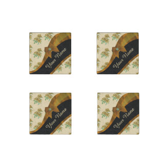 Pretty brown and beige  vintage floral pattern stone magnet
