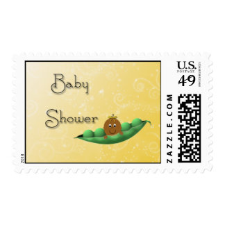 Pretty Brown Baby Yellow Peapod Stamp