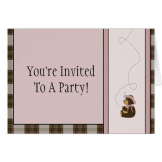 Pretty Brown Bear Brown Plaid Invitation
