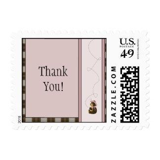 Pretty Brown Bear Brown Plaid Stamps