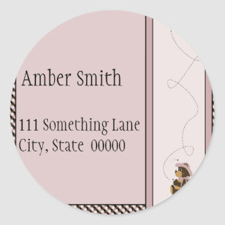 Pretty Brown Bear Color Swatches Address Label Classic Round Sticker