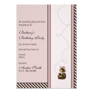 Pretty Brown Bear Color Swatches Invitation