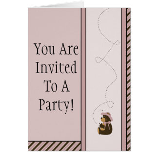 Pretty Brown Bear Diagonal Stripes Invitation