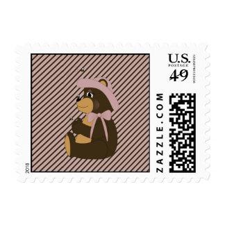 Pretty Brown Bear Diagonal Stripes Stamps