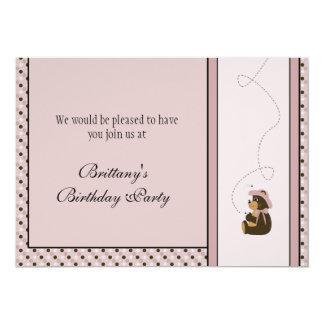 Pretty Brown Bear Dots Invitation
