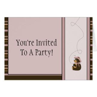 Pretty Brown Bear Horizontal Stripes Invitation