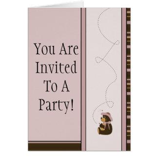 Pretty Brown Bear Horizontal Stripes Invitation Greeting Cards