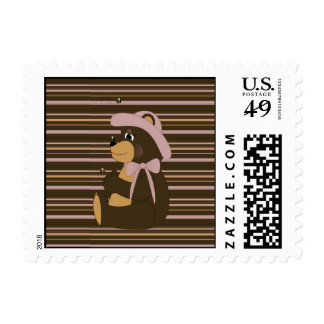 Pretty Brown Bear Horizontal Stripes Stamps