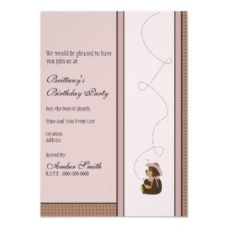 Pretty Brown Bear Pattern Invitation