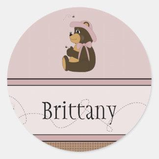Pretty Brown Bear Pattern Name Tag Classic Round Sticker