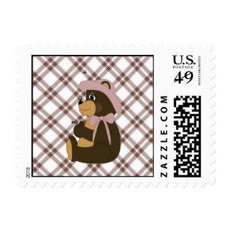 Pretty Brown Bear Pink Plaid Stamps