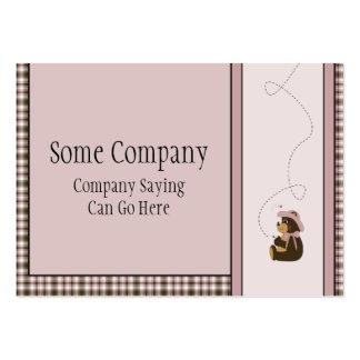 Pretty Brown Bear Rose Plaid Business Card