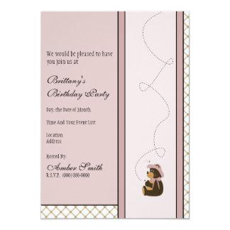 Pretty Brown Bear Tan Plaid Invitation