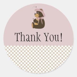 Pretty Brown Bear Tan Plaid Thank You Sticker