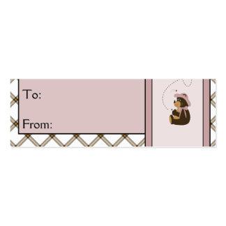 Pretty Brown Bear Toffee Plaid Gift Tags Mini Business Card