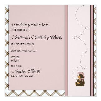 Pretty Brown Bear Toffee Plaid Invitation