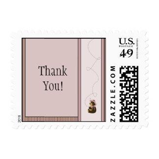 Pretty Brown Bear Vertical Plaid Stamps