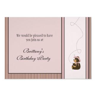 Pretty Brown Bear Vertical Stripes Invitation