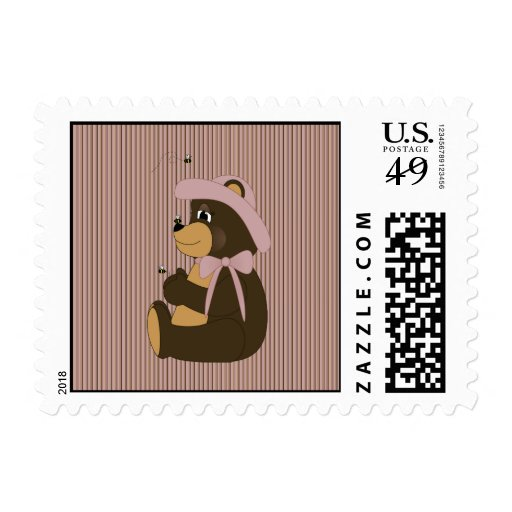 Pretty Brown Bear Vertical Stripes Stamps