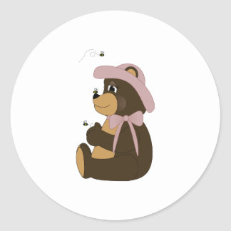 Pretty Brown Bear With Bees Classic Round Sticker