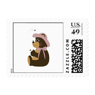 Pretty Brown Bear With Bees Stamp