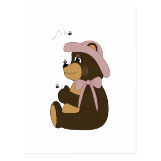 Pretty Brown Bear With Bees Postcard