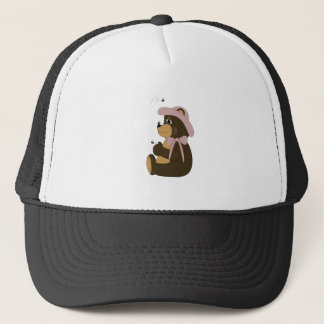 Pretty Brown Bear With Bees Trucker Hat